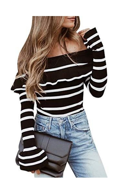 MsLure Off Shoulder Striped Ruffle Knit Pullover Sweater