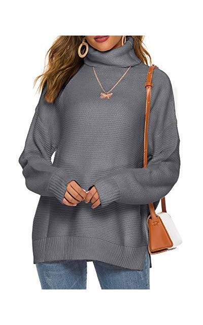 LIOFOER Turtleneck Pullover Sweater