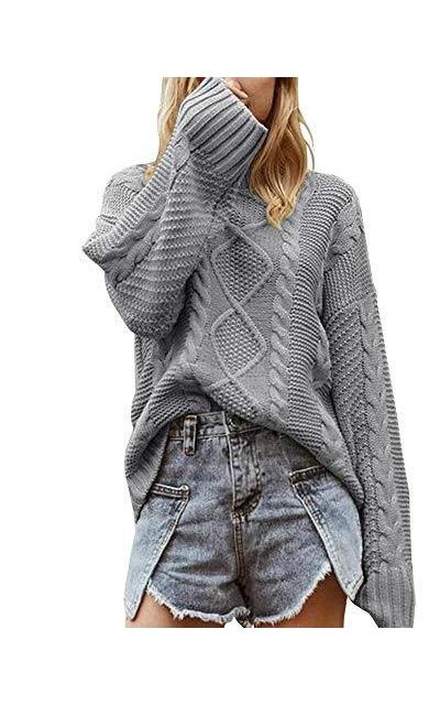 Tutorutor Oversized Batwing Cable Knit Sweater