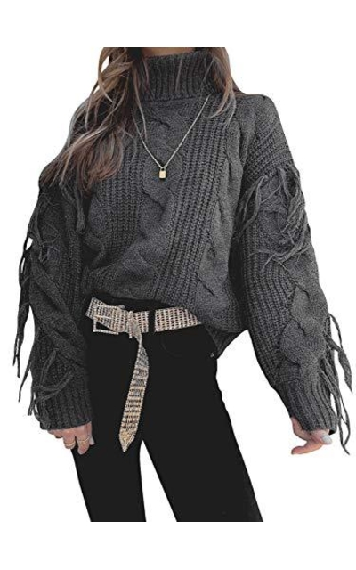 Sollinarry Turtleneck Fringe Cable Knit Sweater