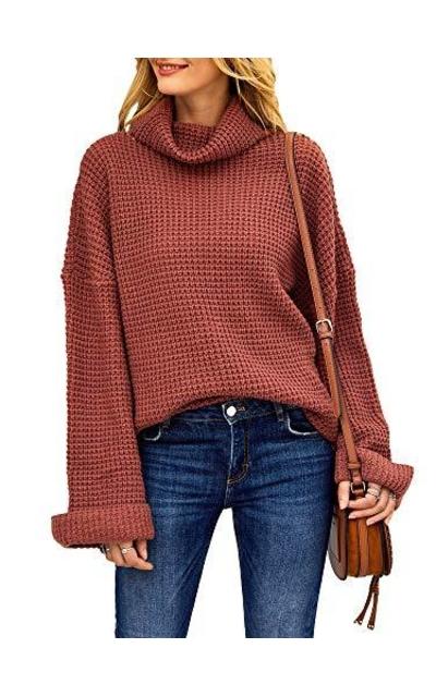 Tutorutor Turtleneck Waffle Knit Pullover Sweater