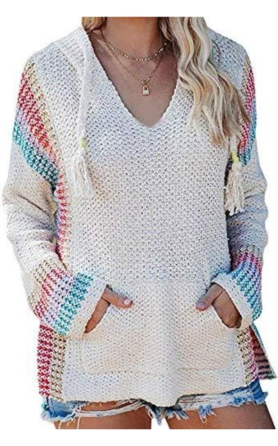 Ferbia Boho Pullover Striped Sweater
