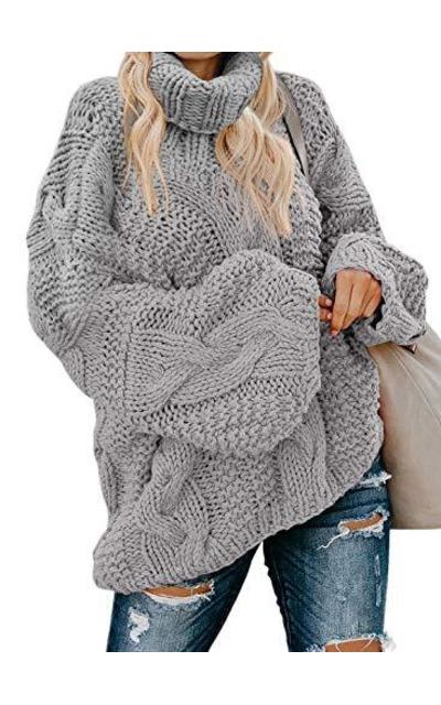 Acelitt Turtleneck Chunky Sweater