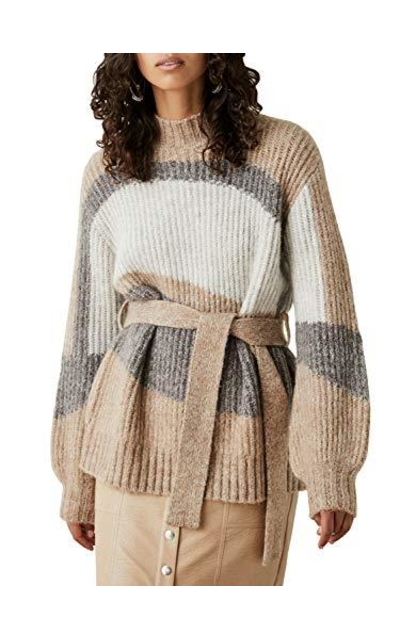Simplee Striped Color Block Sweater Oversized Sweater