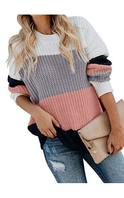 Acelitt Color Block  Sweater