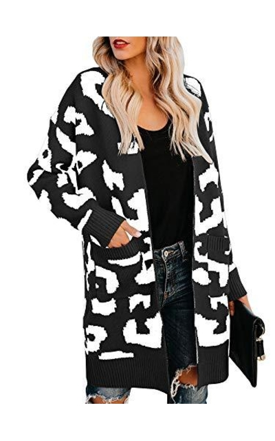 Msikiver Leopard Print Sweater Cardigan