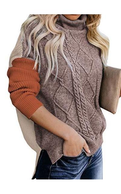 Dokotoo Turtleneck Color Block Sweaters