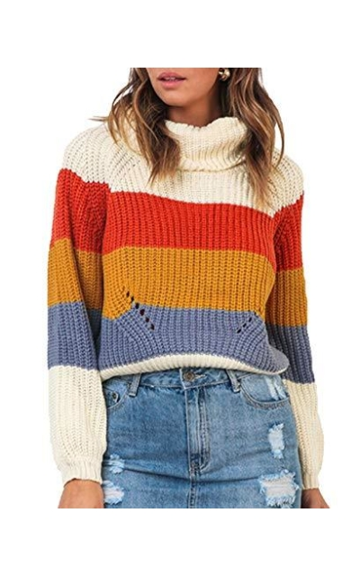 ZESICA  Turtleneck Color Block Oversized Sweater