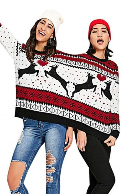 CHARMMA Two Person Knit Pullover Ugly Christmas Sweater