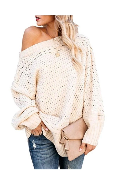 Saodimallsu Off The Shoulder Pullover Sweater