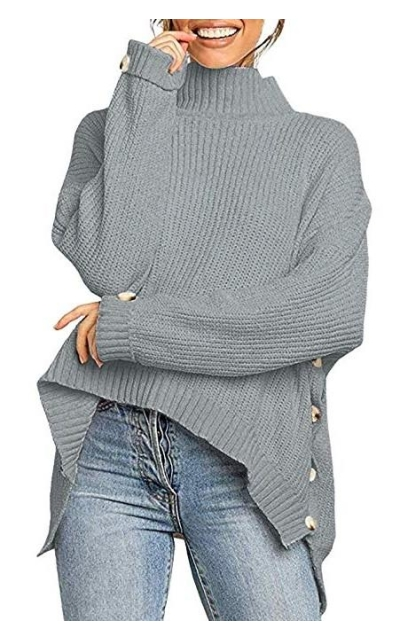 SUNMMWERY Mock Neck Button Detail Sweater