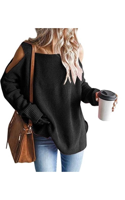 MaQiYa Cold Shoulder Oversized Pullover Sweater