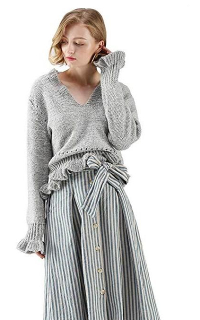 Chicwish Grey V-Neck Soft Frilling Knit Sweater Pullover