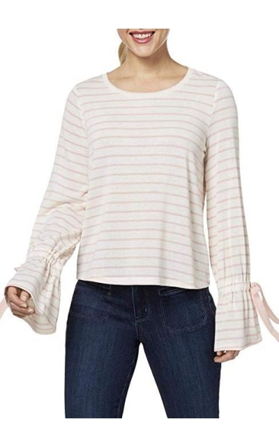 Maison Jules Striped Bell Sleeve Pullover Sweater