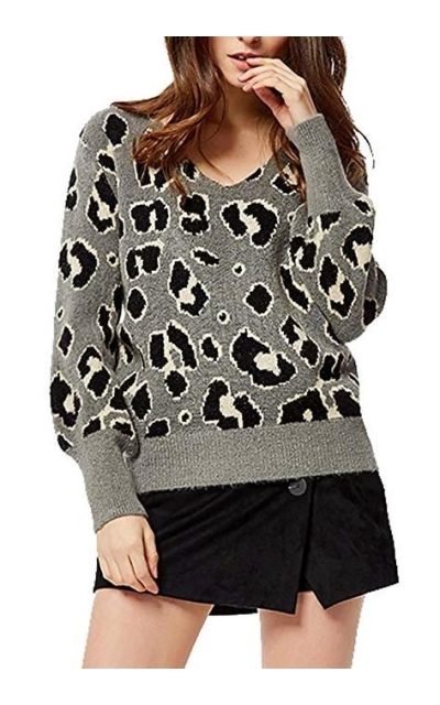 Leopard Print Knitting Sweater