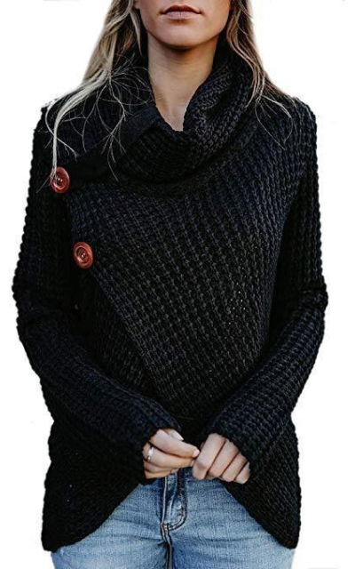 Forart Turtle Cowl Neck Chunky Sweater