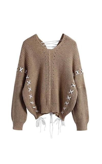 ZAFUL Lace Up V Neck Sweater