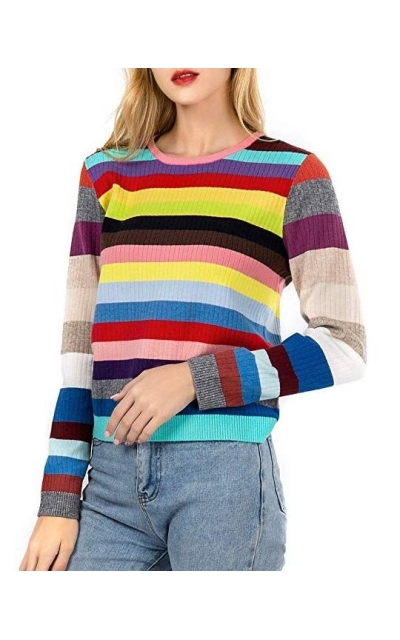 LUKATU  Striped Color Block Sweater