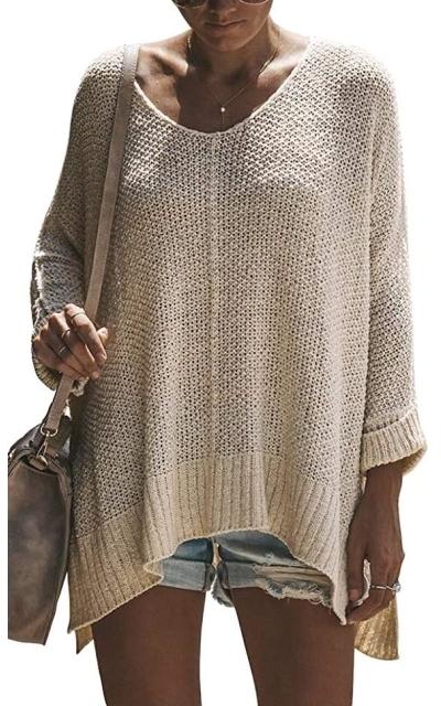 Exlura Casual V Neck Loose Oversized Pullover Sweater