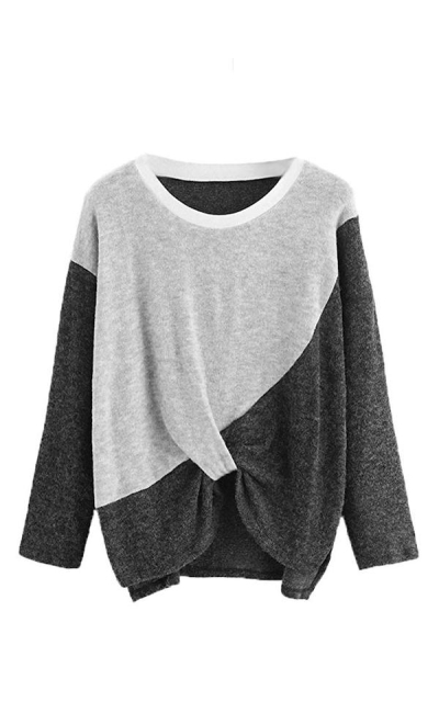 ROMWE Colorblock Twist Sweater
