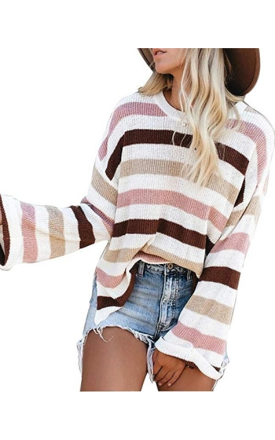LEANI Striped Color Block Knit Sweater