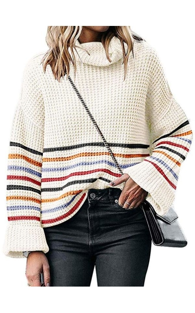 Turtleneck Striped Oversized Sweater