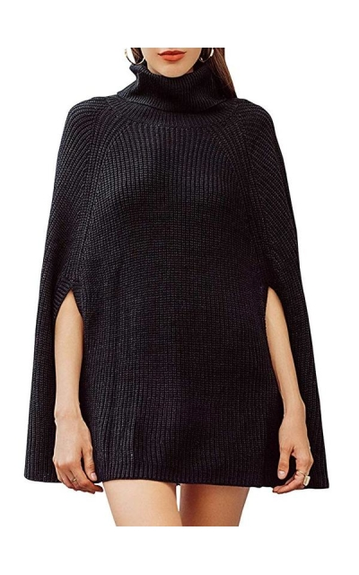 BerryGo Turtleneck Cape Sweater Knitted Pullover