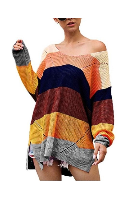 Susupeng V Neck Oversized Block Sweater