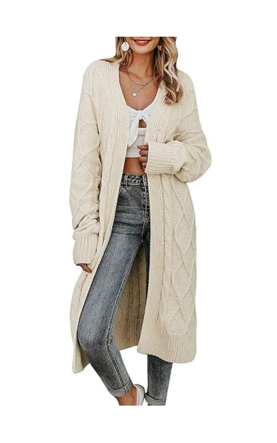 MsLure Long Sleeve Open Front Loose Knit Cardigan Sweater Coat