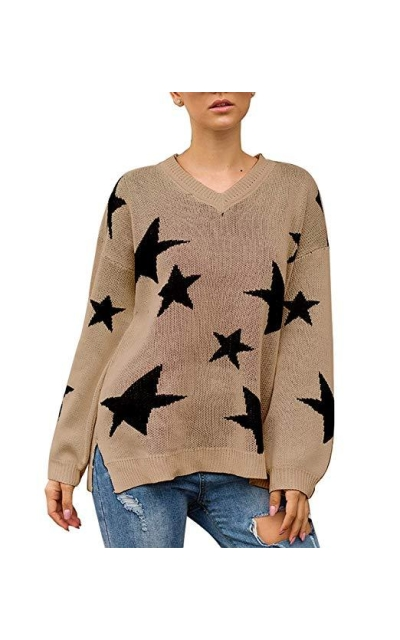 PRETTYGARDEN Star Printed Sweater