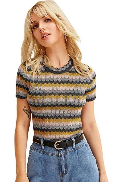 SheIn Scallop Trim Knit Sweater Top