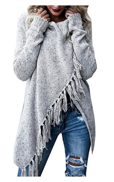 Fantastic Zone  Speckled Fringe Open Front Cardigan Sweater