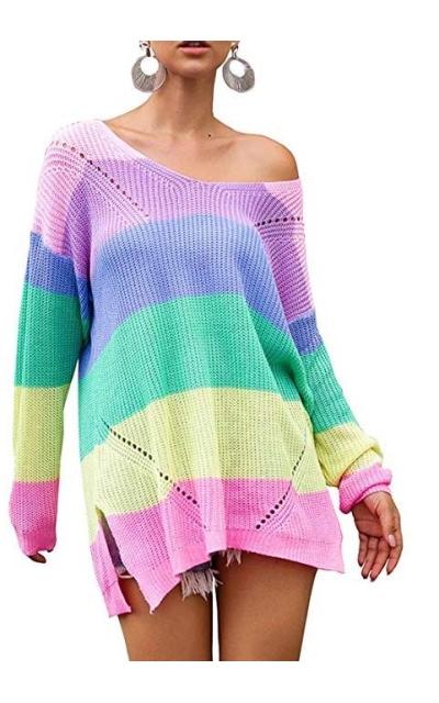 Tulucky  Rainbow Knit Pullover