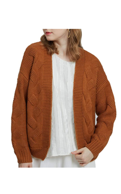 Open Front Chunky Ribbed Knit Cardigan Sweater