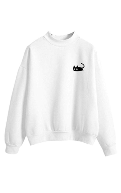 Wobuoke Cat Print Crewneck Sweater
