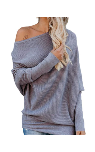 Exlura Off Shoulder Ribbed Pullover
