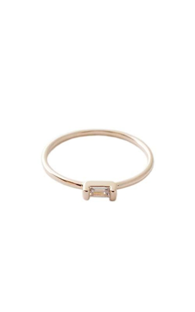 HONEYCAT Tiny Baguette Crystal Ring