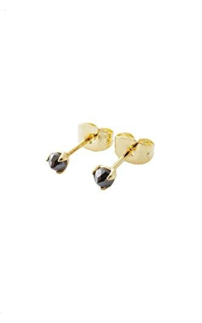 HONEYCAT Tiny Iron Ore Point Solitaire Studs in 24k Gold Plate