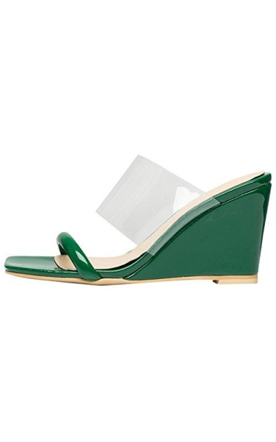 AnnaKastle Transparent Clear Strap Wedge Sandals