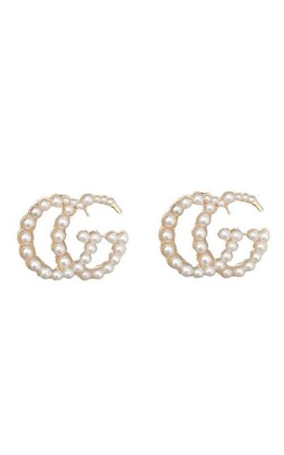 Luxury Letter G Pearl Initial Stud Earrings