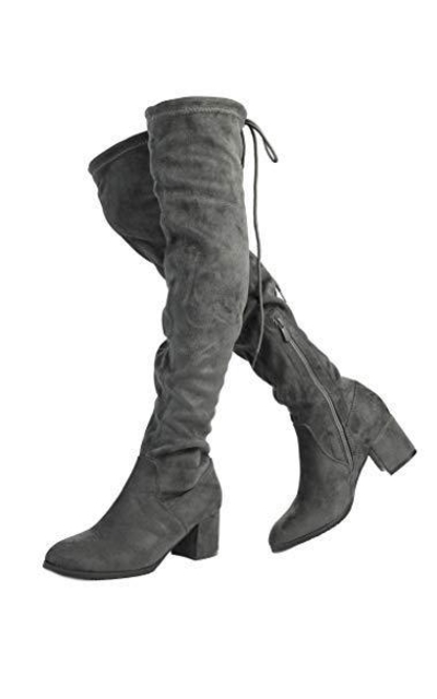 DREAM PAIRS New Portz Grey Over The Knee Boots
