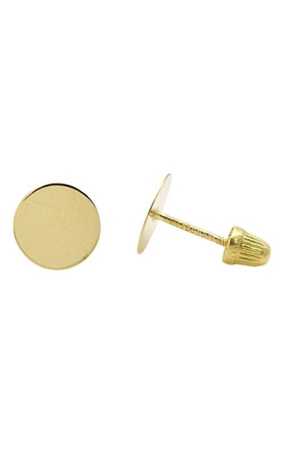 7mm Flat Disk 14k Gold Screw Back Stud Earrings