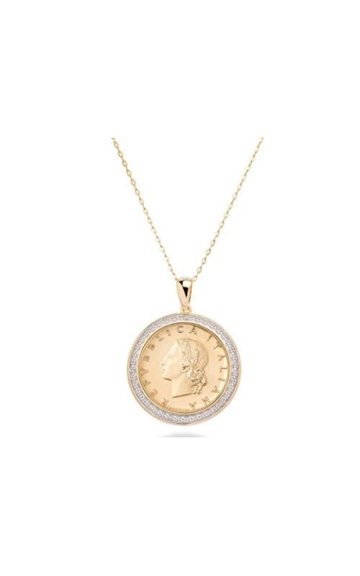 Miabella 18K Gold Italian 20 Lira Coin Pendant Necklace