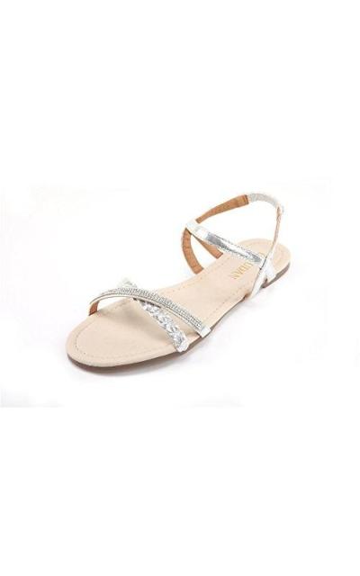 MUDAN Braided & Rhinestone Sandals