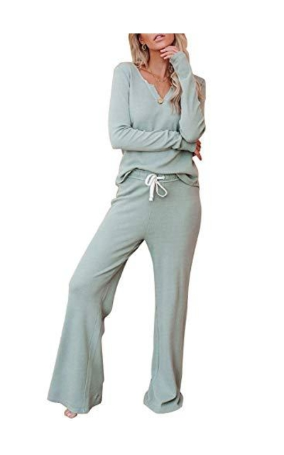 EVALESS Ribbed Knit Long Pajamas Set