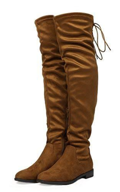 DREAM PAIRS Uplace Tan Suede Over The Knee Thigh High Boots