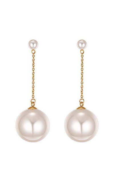 FOCALOOK Large Pearl Drop Long Earrings