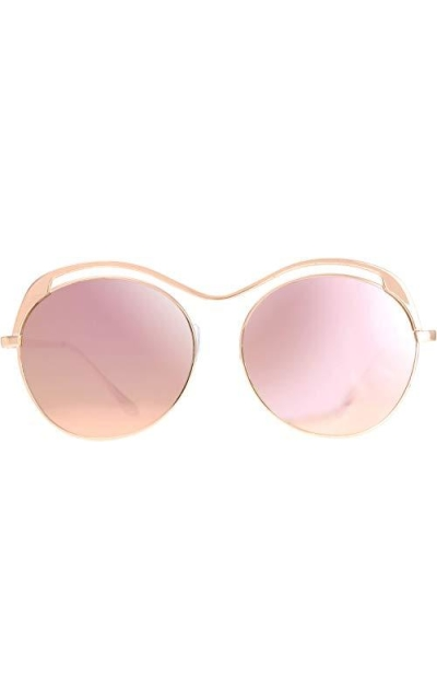Top Metal Round Mirrored Lens Sunglasses
