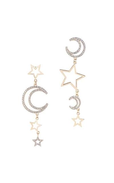 Star Moon Asymmetrical Earrings Dangle