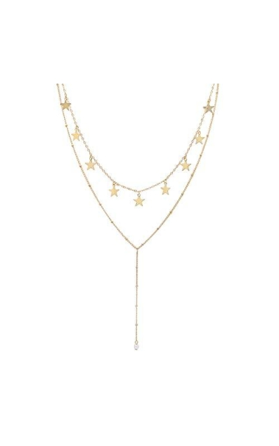 So Pretty Layered Gold Star Choker Necklace